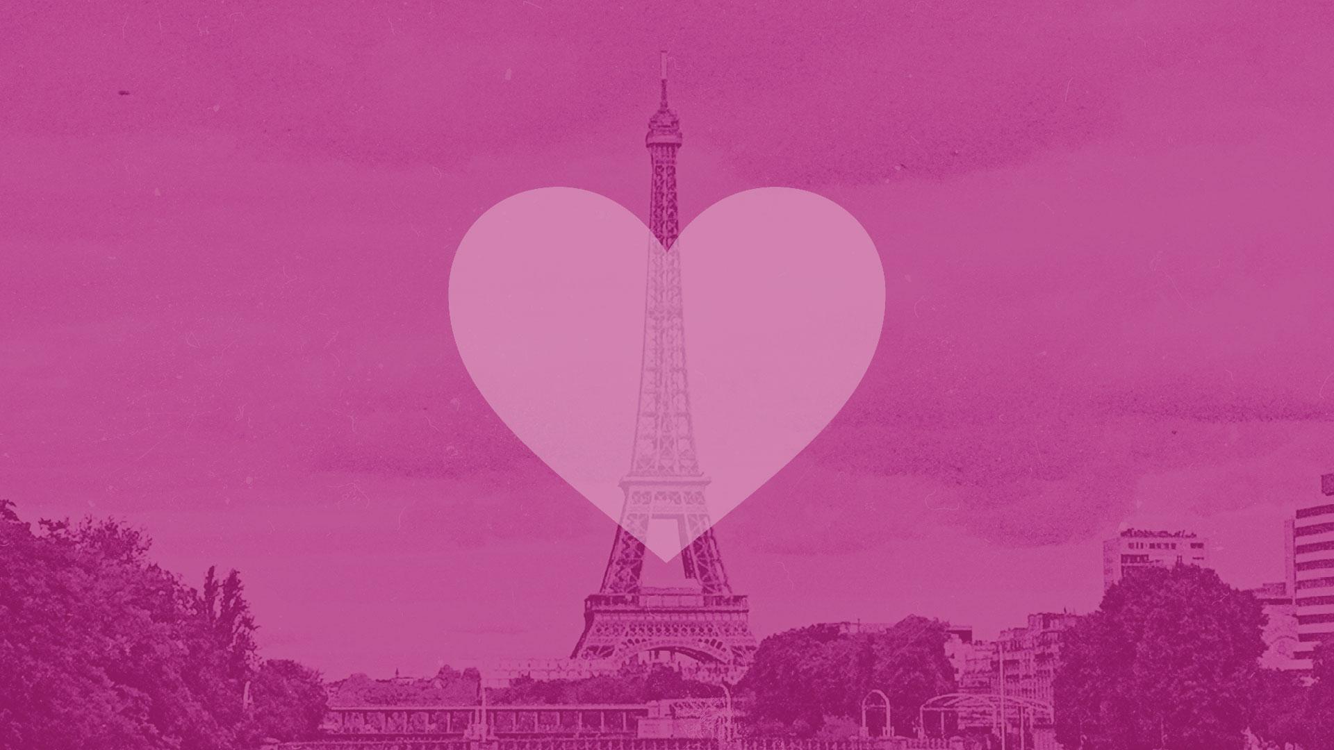 eiffeltårnet i lyserøde farvetoner dækket af et halvgennemsigtigt lyserødt hjerte
