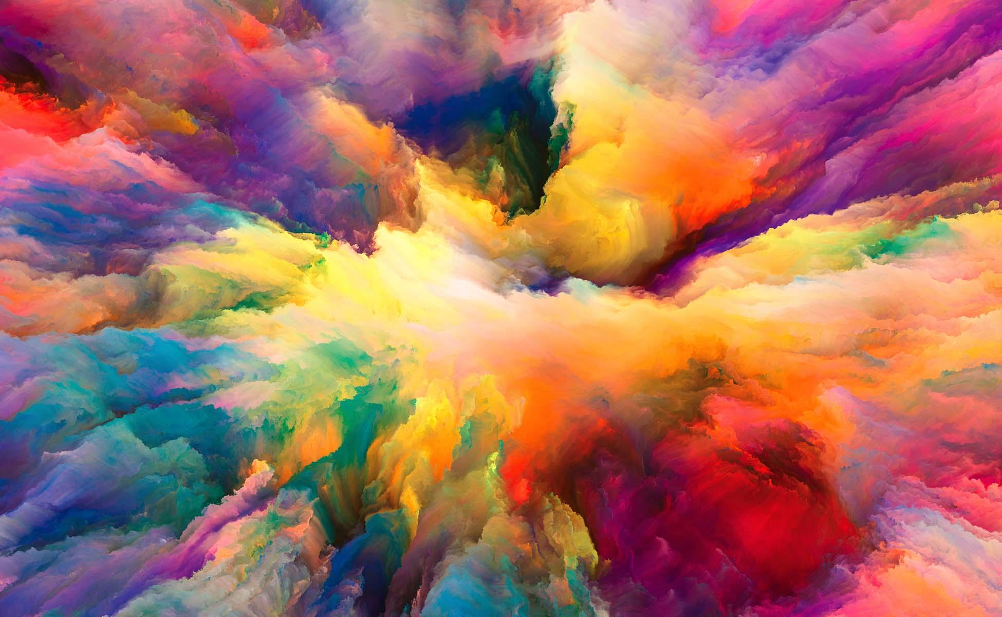 akvarel af alle regnbuens farver i en stor sløret blanding